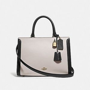 Coach Zoe Carryall Color Block, Chalk and Black